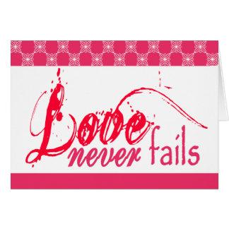 Kristen kärlek misslyckas aldrig hälsningskort