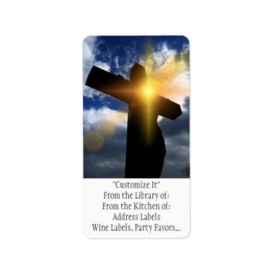 Kristenkor på den tjänste- påsksoluppgången adressetikett