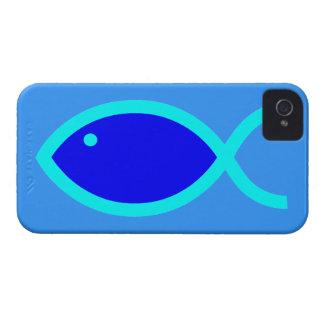 Kristet fisksymbol - HÖGT! Blått och Aqua #1 iPhone 4 Hud
