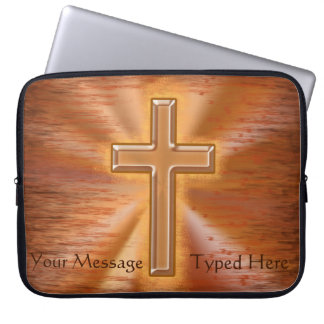 Kristna bärbar datorfodral med guld- argt att