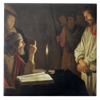 Kristus för Caiaphas (olja på kanfas) Kakelplatta