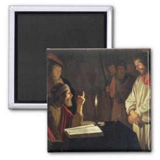 Kristus för Caiaphas (olja på kanfas) Magnet