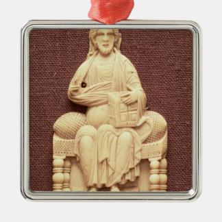 Kristus installerar, byzantinen, det11th silverfärgad fyrkantigt julgransprydnad