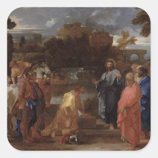 Kristus och centurionen fyrkantigt klistermärke