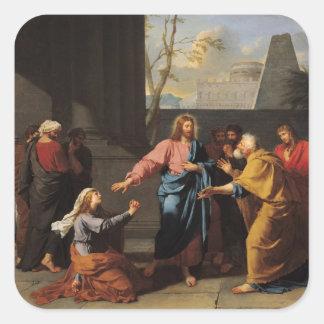 Kristus och den Canaanite kvinnan, 1783-84 Fyrkantigt Klistermärke