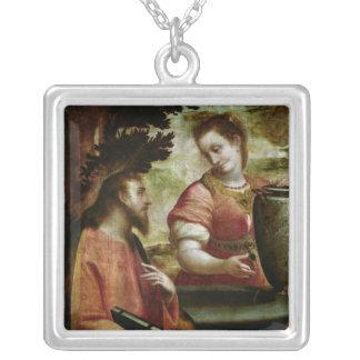 Kristus och kvinnan av Samaria, c.1575-80 Silverpläterat Halsband