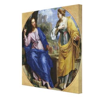 Kristus och kvinnan av Samaria Canvastryck