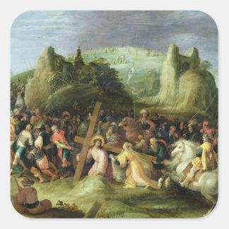 Kristus på vägen till calvaryen fyrkantigt klistermärke