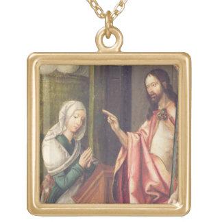 Kristus redeemeren som välsignar en kvinna (panele halsband med fyrkantigt hängsmycke