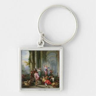 Kristus som kör köpmännen från tempelet fyrkantig silverfärgad nyckelring