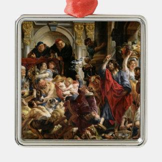 Kristus som kör köpmännen från tempelet julgransprydnad metall