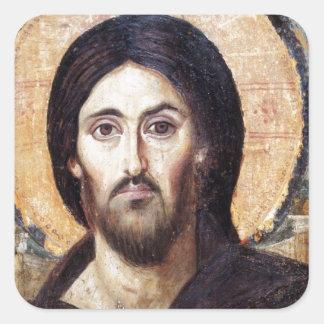 Kristus som linjal allra fyrkantigt klistermärke