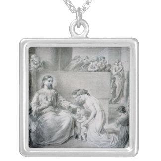 Kristus som lite välsignar barn halsband med fyrkantigt hängsmycke
