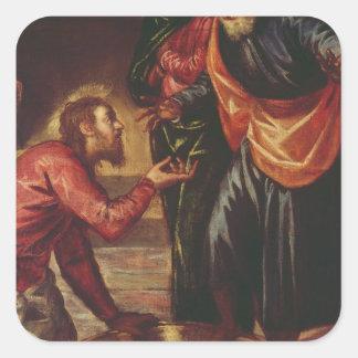Kristus som tvättar foten av lärjungarna fyrkantigt klistermärke