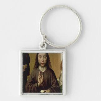 Kristus som välsignar 2 fyrkantig silverfärgad nyckelring