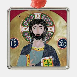 Kristusvälsignelse, 10th-11th århundrade silverfärgad fyrkantigt julgransprydnad