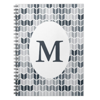 Kritisera det Monogrammed geometriska mönster Anteckningsbok Med Spiral