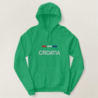 Kroatienflagga Broderad Luvtröja