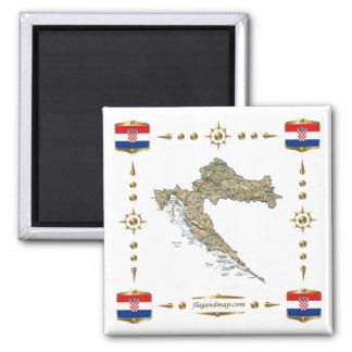 Kroatienkarta + Flaggormagnet