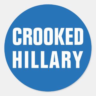 Krokiga Hillary Clinton Runt Klistermärke