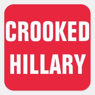 Krokiga Hillary val 2016 Fyrkantigt Klistermärke