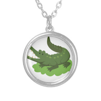 krokodil silverpläterat halsband