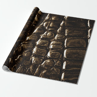 Krokodilen flår inpackning av papperssvarten, presentpapper