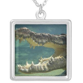 Krokodiler öppnar munnen silverpläterat halsband