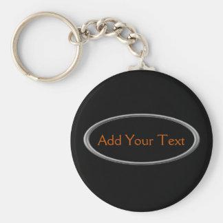Krom på svart rund nyckelring