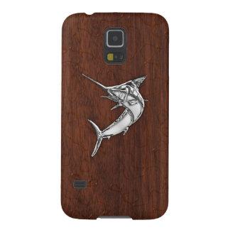 KromMarlinfisk på vått mahognytryck Galaxy S5 Fodral
