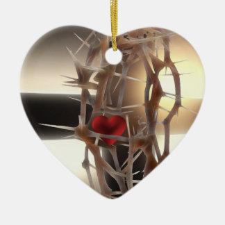 Krona-av-Taggar Hjärtformad Julgransprydnad I Keramik