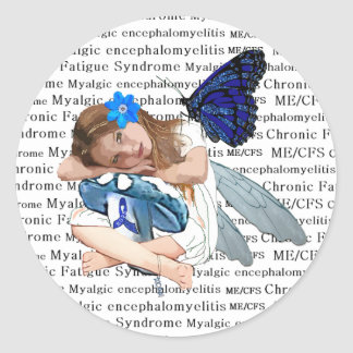 Kroniska ME/CFS tröttar ut liten flickaängelfen Runt Klistermärke