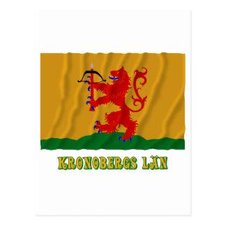 Kronobergs län som vinkar flagga med namn vykort