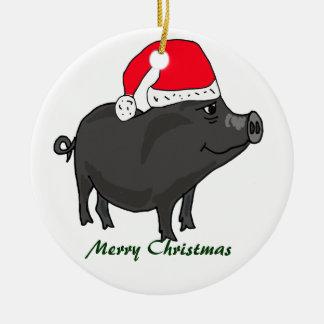 Kruka buktad gris BW i Santa hattprydnad Julgransprydnad Keramik