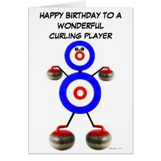 Krullande spelare för födelsedag hälsningskort
