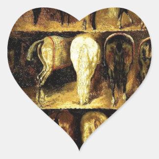 Krupporna av Theodore Gericault Hjärtformat Klistermärke