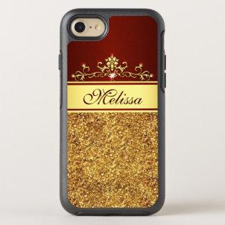 Krusidullar för blommigt för guld- glittervintage OtterBox symmetry iPhone 7 skal