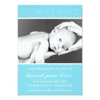 Krusidullnyfödd bebismeddelanden (blått) 12,7 x 17,8 cm inbjudningskort