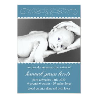 Krusidullnyfödd bebismeddelanden (blått 12,7 x 17,8 cm inbjudningskort