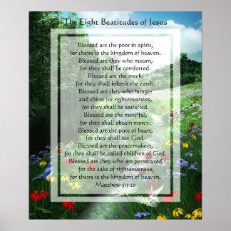 KRW de åtta beatitudesna av det Jesus trycket Poster