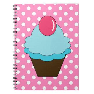 Krw-rosan pricker och blåttmuffinanteckningsboken anteckningsbok