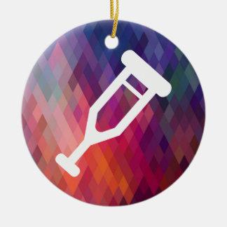 Kryckan lägger benen på ryggen pictographen julgransprydnad keramik