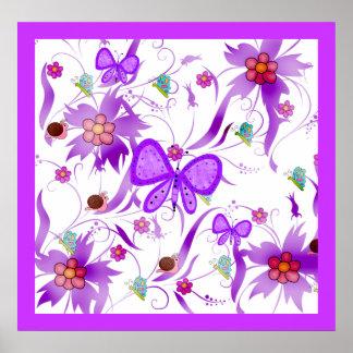 Kryp för blommor för fjäril för affischungeflickor poster