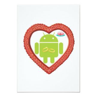 KrypDroid hjärta (kärlek) tårta för två guld- 12,7 X 17,8 Cm Inbjudningskort