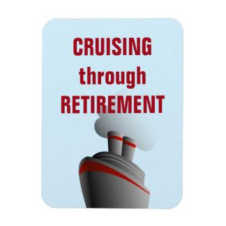 Kryssa omkring till och med pensionblått magnet