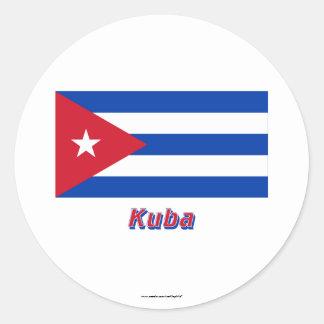 Kuba Flagge mit Namen Runt Klistermärke