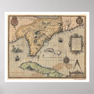 Kuba & Florida karta 1591 Poster