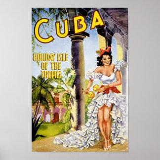 Kubahelgdagisle av tropikernavintage affisch poster