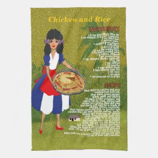 Kubansk Handduk-Höna & ris för cuisinereceptkök Kökshandduk
