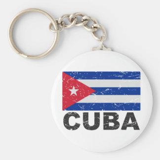 Kubavintageflagga Rund Nyckelring